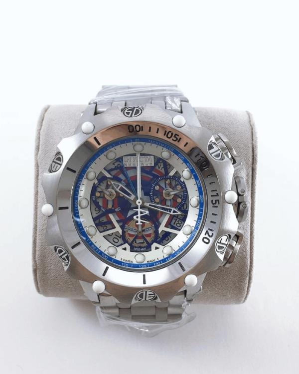 Réplica de relógio Invicta Hibrid Esqueleto – Prata/Azul