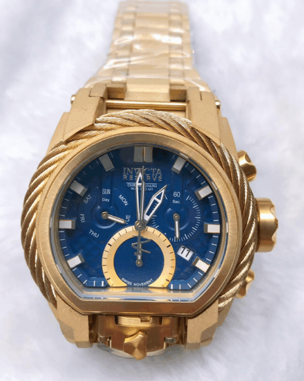Réplica de relógio Invicta Zeus Magnum – Dourado/Azul