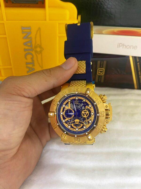 Réplica de relógio Invicta Subaqua Noma lll Esqueleto – Dourado/Azul