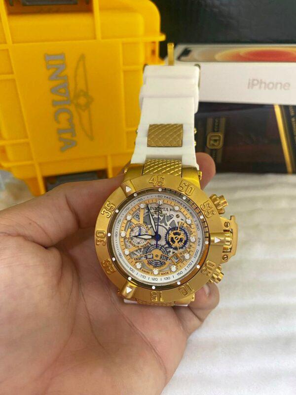 Réplica de relógio Invicta Subaqua Noma lll Esqueleto – Dourado/Branco