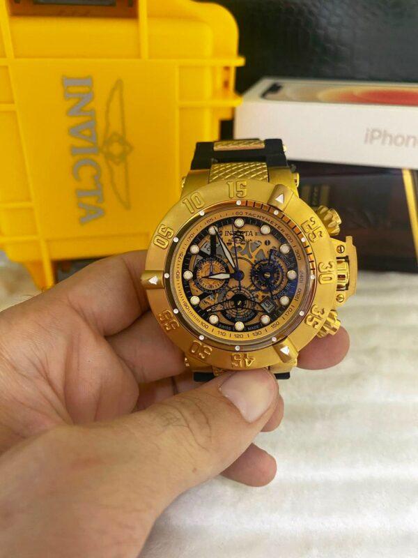 Réplica de relógio Invicta Subaqua Noma lll Esqueleto – Dourado/Preto