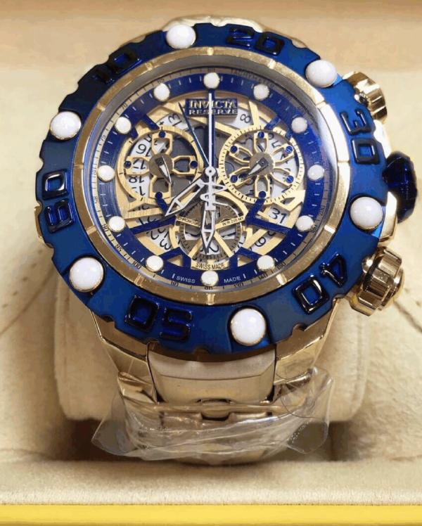 Réplica de relógio Invicta Hibrid Premium – Dourado/Azul