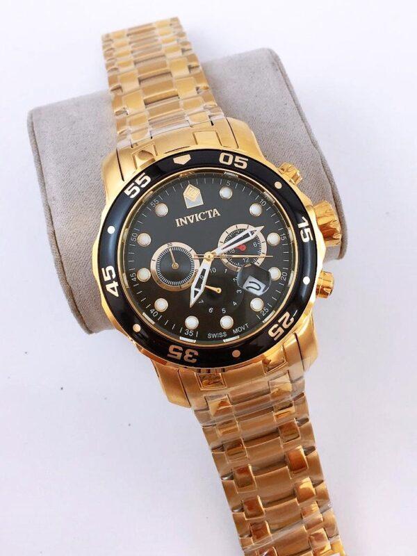 Réplica de relógio Invicta Pro Diver Aço – Dourado/Preto