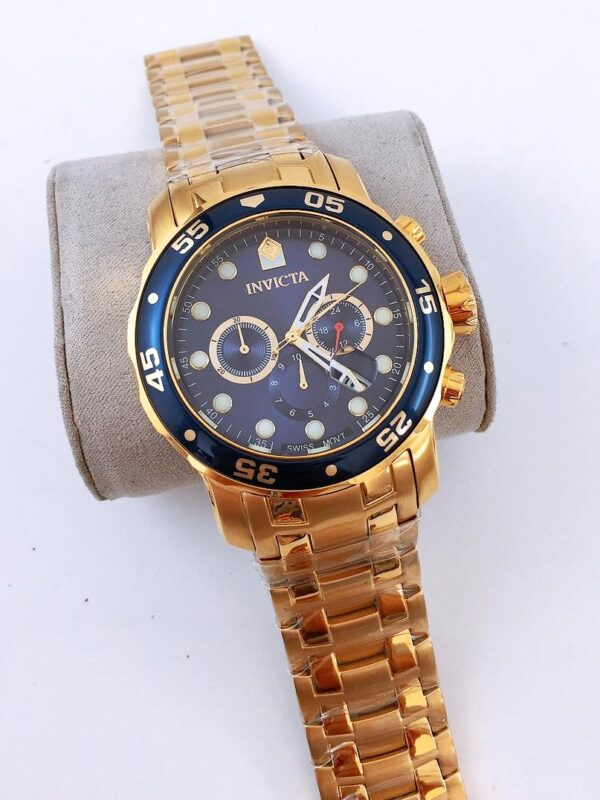 Réplica de relógio Invicta Pro Diver Aço – Dourado/Azul