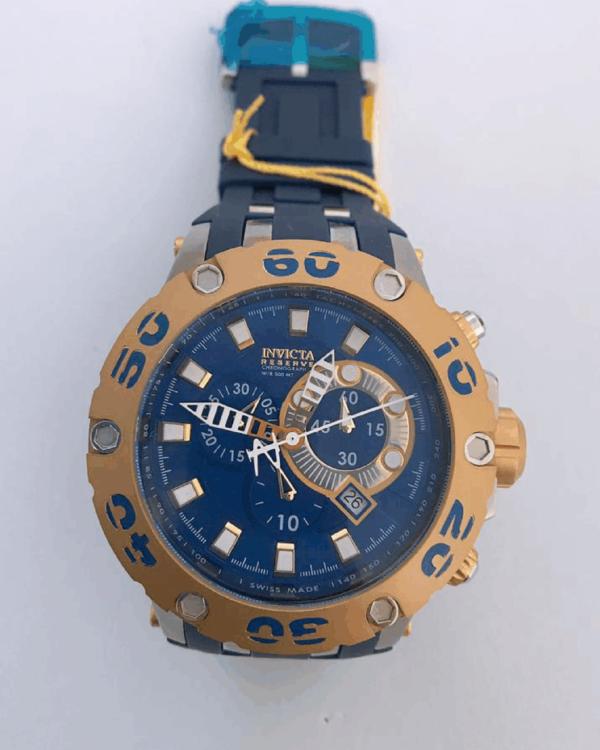 Réplica de relógio Invicta Reserve – Azul/Dourado