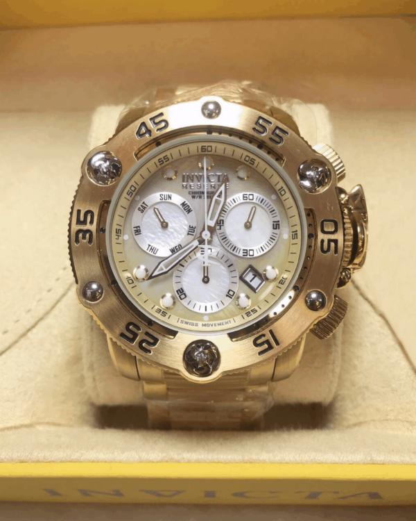 Réplica de relógio Invicta Reserve Swiss – Dourado/Branco