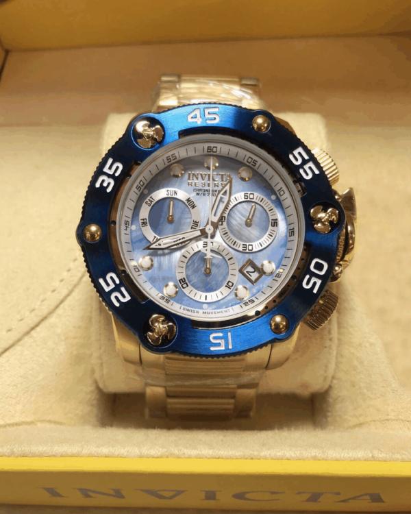 Réplica de relógio Invicta Reserve Swiss – Dourado/Azul