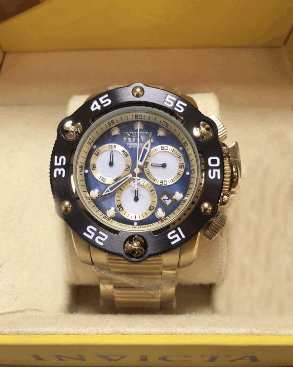 Réplica de relógio Invicta Reserve Swiss – Dourado/Preto