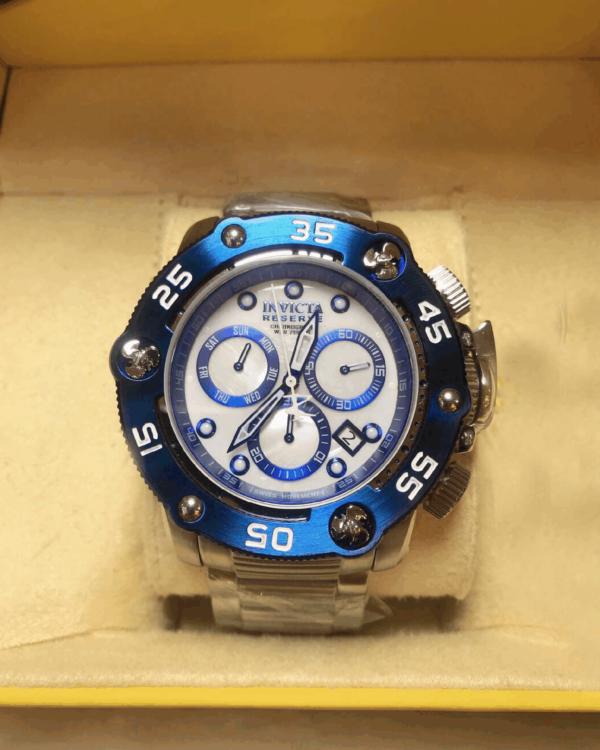 Réplica de relógio Invicta Reserve Swiss – Prata/Azul