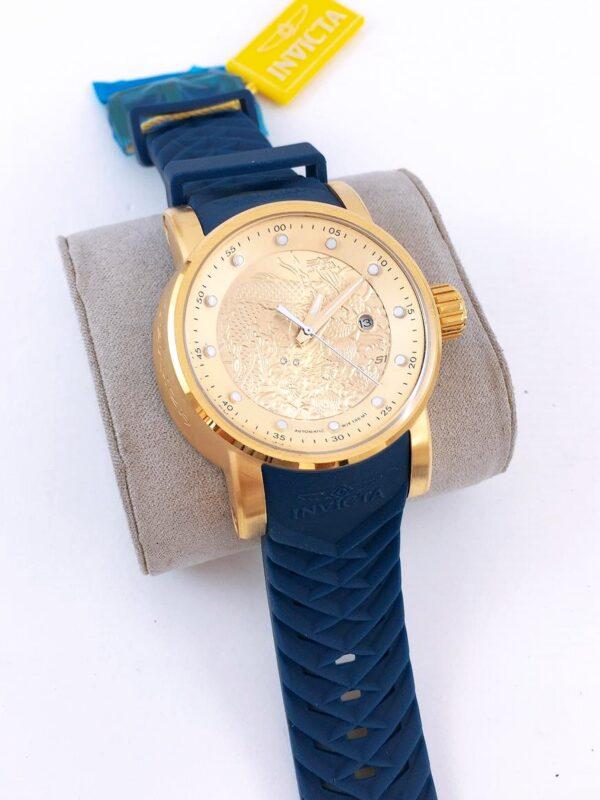 Réplica de relógio Invicta Yakusa – Dourado/Azul