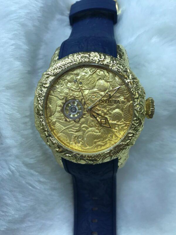 Réplica de relógio Invicta Yakusa ll – Dourado/Azul