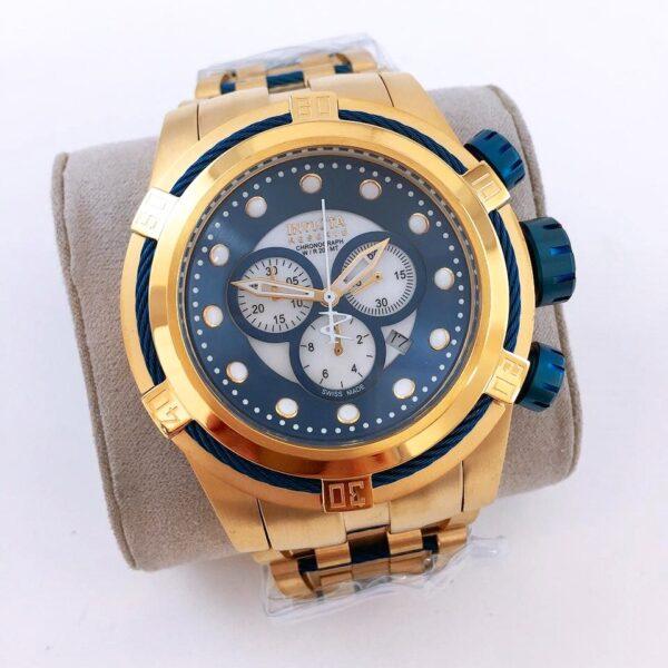Réplica de relógio Invicta Zeus Fechado – Dourado/Azul