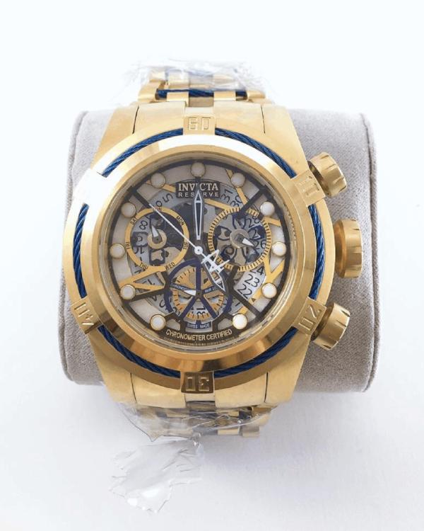 Réplica de relógio Invicta Zeus Esqueleto Aço – Dourado/Azul
