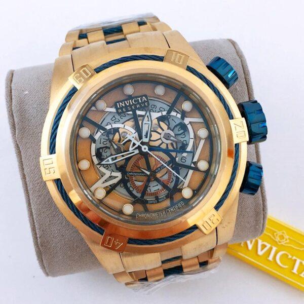 Réplica de relógio Invicta Zeus Esqueleto Aço – Dourado