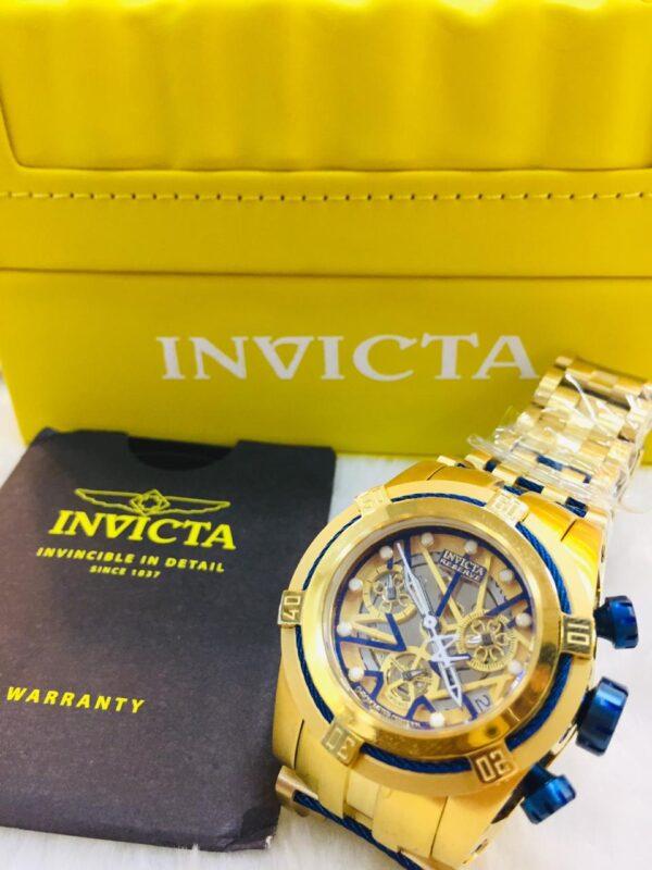 Réplica de relógio Invicta Zeus Feminino – Dourado/Azul