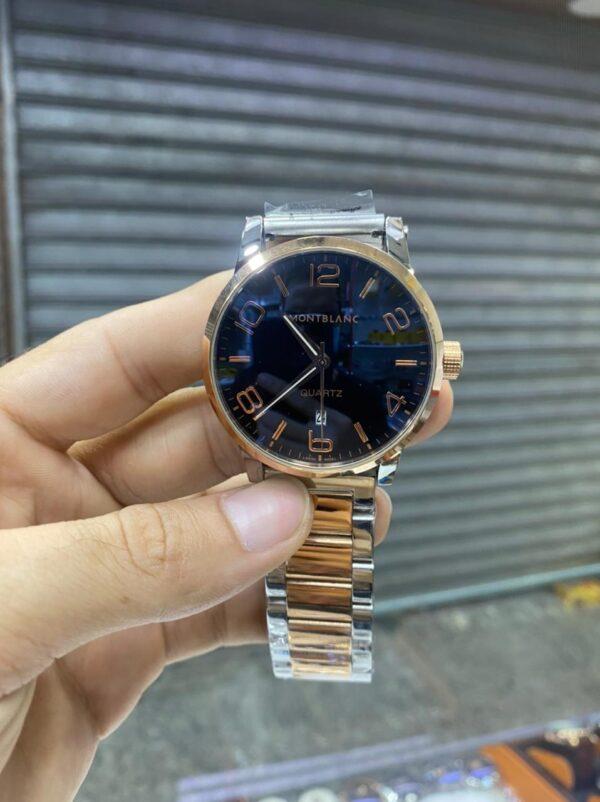 Réplica de relógio Mont Blanc Aço – Dourado/Azul