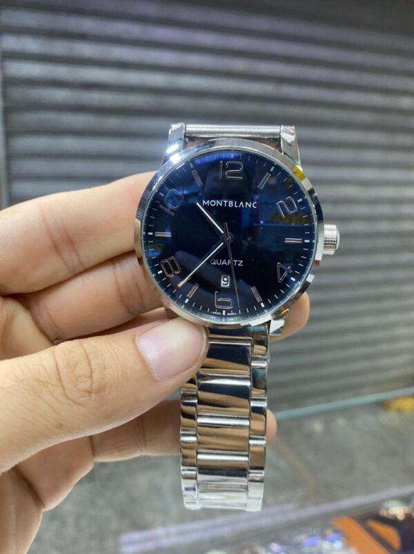 Réplica de relógio Mont Blanc Aço – Prata/Azul