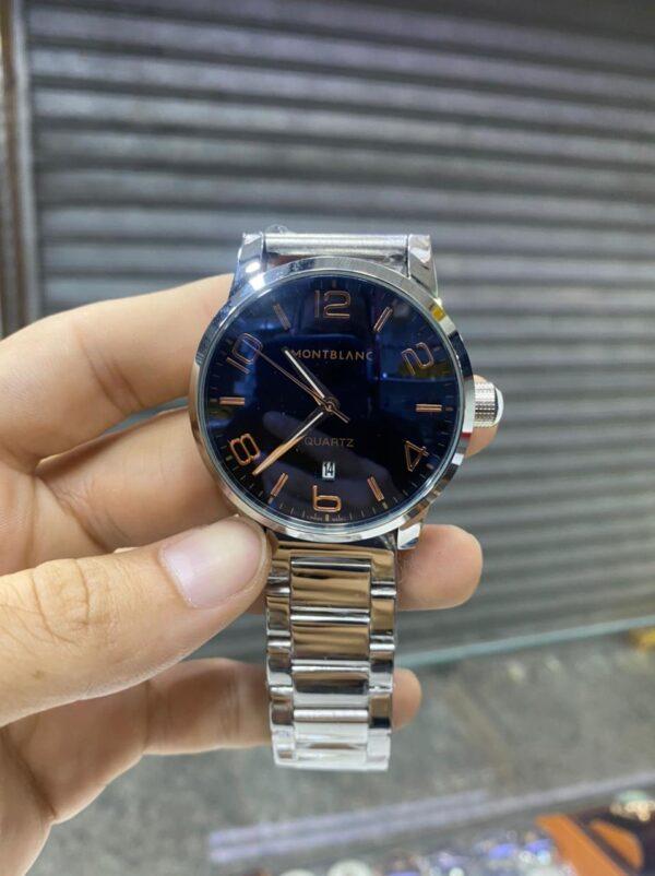 Réplica de relógio Mont Blanc Aço – Azul/Prata