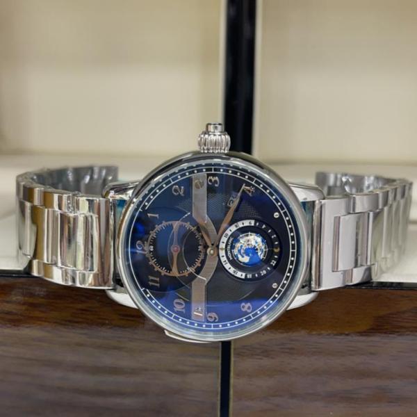 Réplica de relógio Mont Blanc Mundo Aço – Prata/Azul