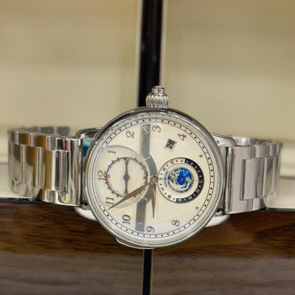 Réplica de relógio Mont Blanc Mundo Aço – Prata/Branco