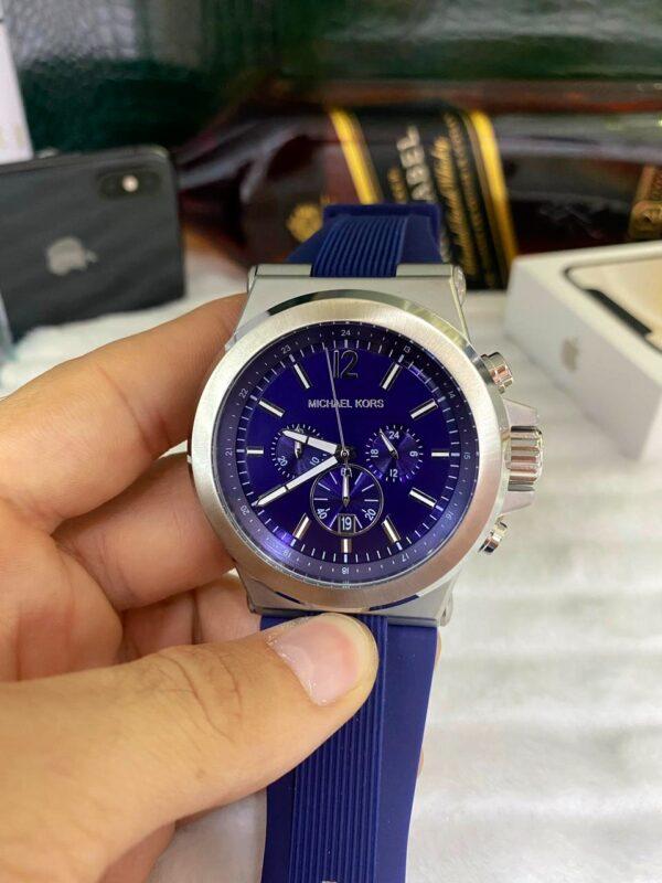 Réplica de relógio Michael Kors Borracha – Azul/Prata