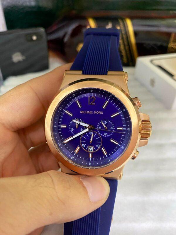 Réplica de relógio Michael Kors Borracha – Dourado/Azul