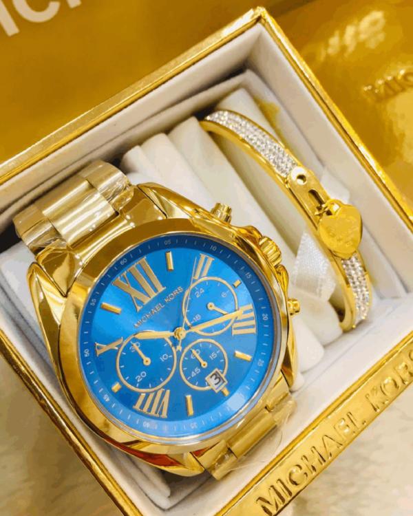 Réplica de relógio Michael Kors Aço – Dourado/Azul