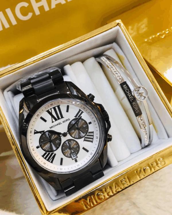 Réplica de relógio Michael Kors Aço – Preto/Branco