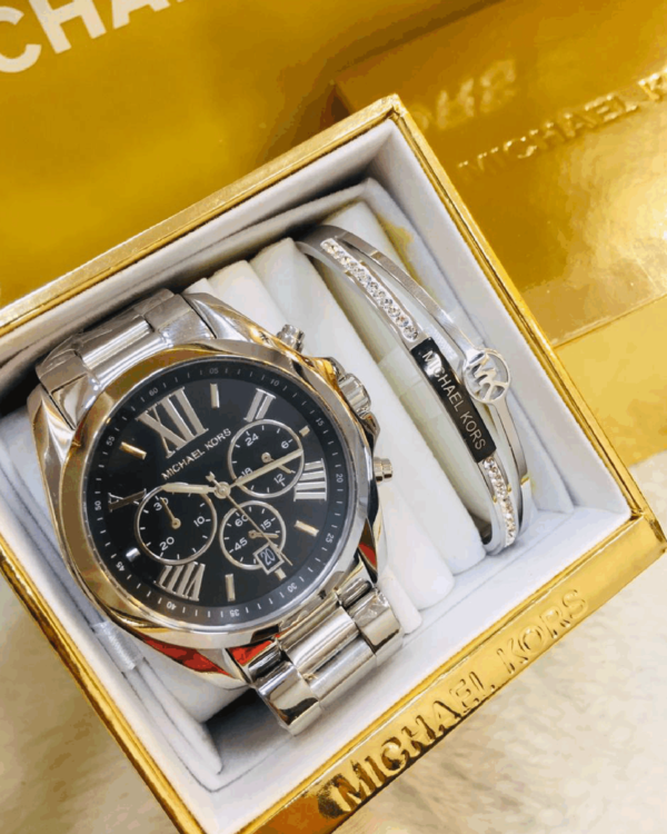Réplica de relógio Michael Kors Aço – Prata/Preto