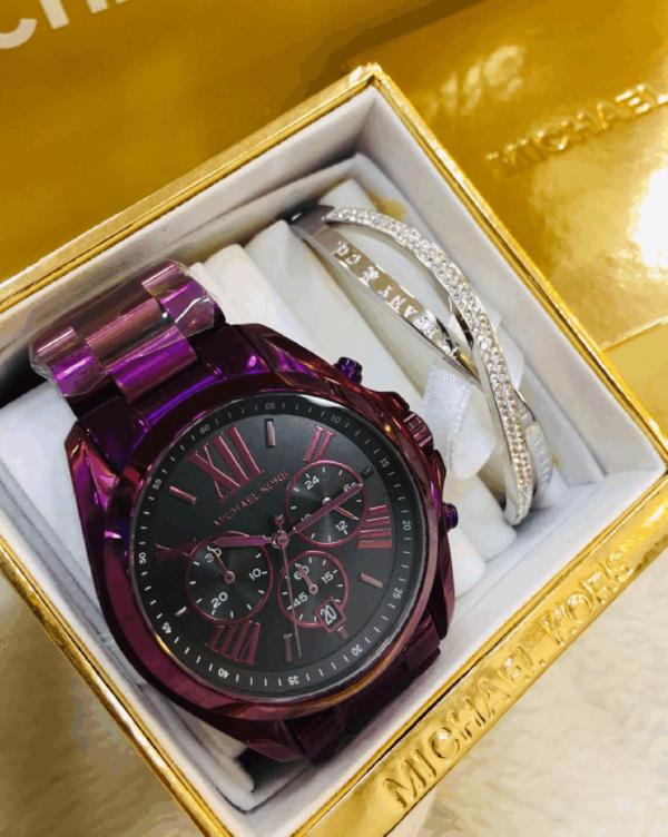 Réplica de relógio Michael Kors Aço – Roxo/Preto
