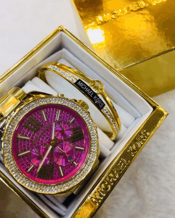 Réplica de relógio Michael Kors Aço Kit – Rosa/Dourado