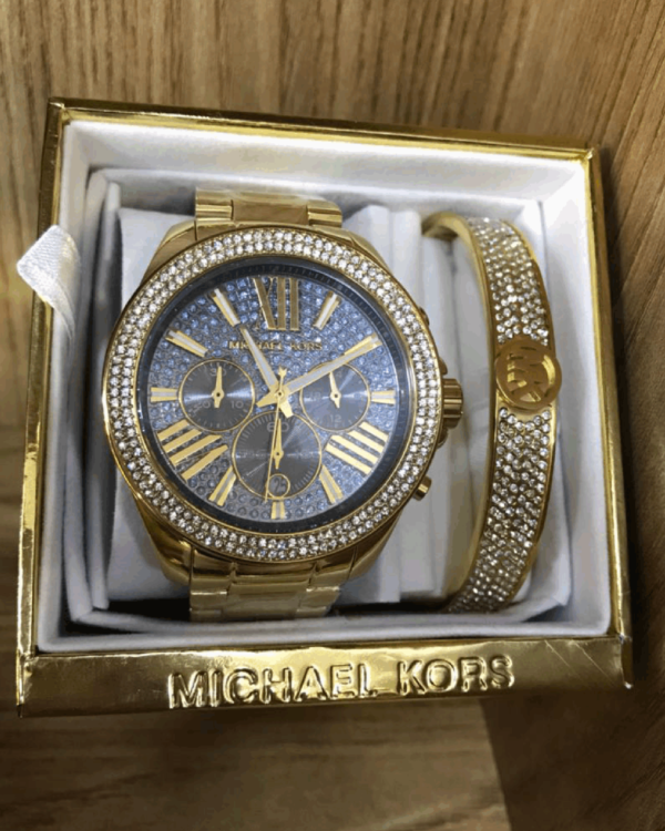 Réplica de relógio Michael Kors Aço Kit – Dourado/Azul