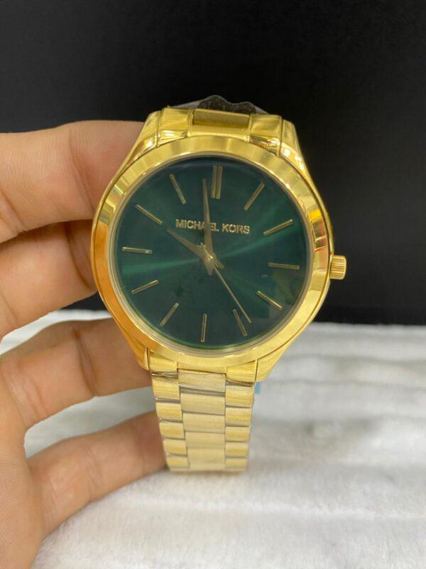 Réplica de relógio Michael Kors – Verde/Dourado