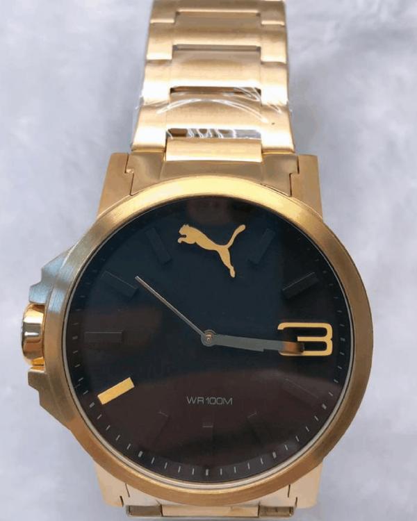 Réplica de relógio Puma Dourado/Preto
