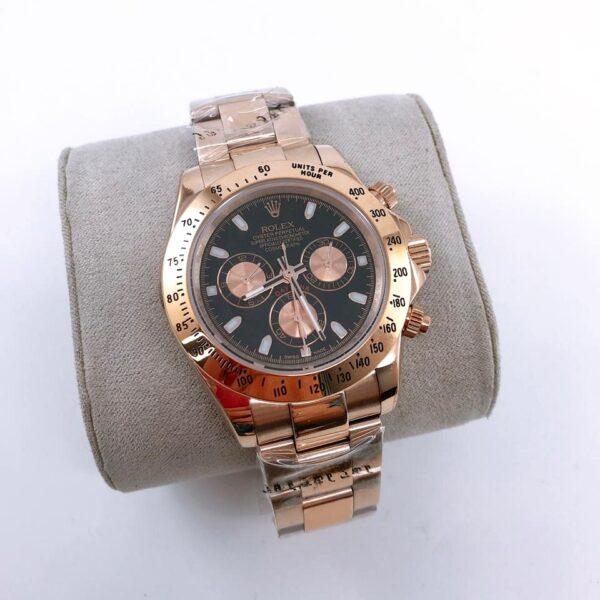 Réplica de relógio Rolex Daytona Rosê/Preto