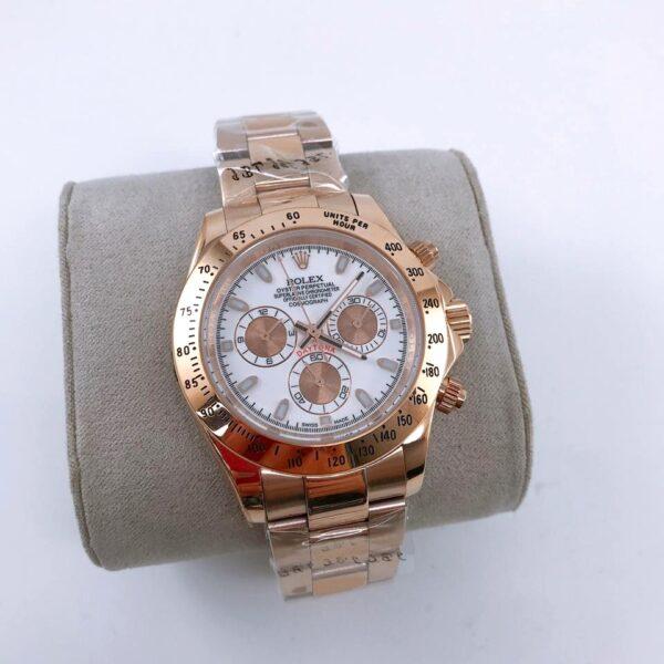 Réplica de relógio Rolex Daytona Rosê/Branco