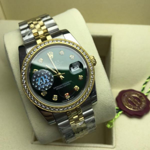 Réplica de relógio Rolex Daydate Pedra-Preto 2