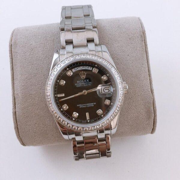 Réplica de relógio Rolex Daydate Pedra 2 Preto