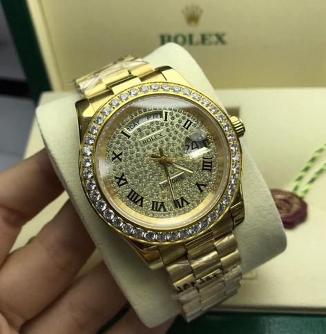 Réplica de relógio Rolex Daydate Todo em Pedra Dourado 2