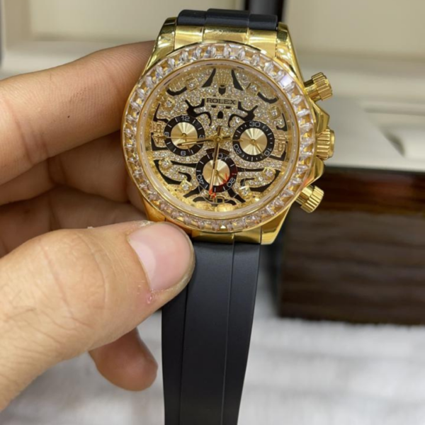 Réplica de relógio Rolex Borracha Pedras Dourado