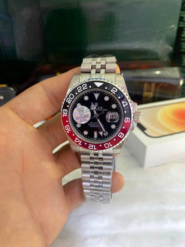 Réplica de relógio Rolex GMT Jubilee Preto/Vermelho