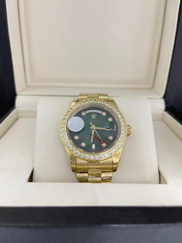 Réplica de relógio Rolex Pedra Fundo Verde 2