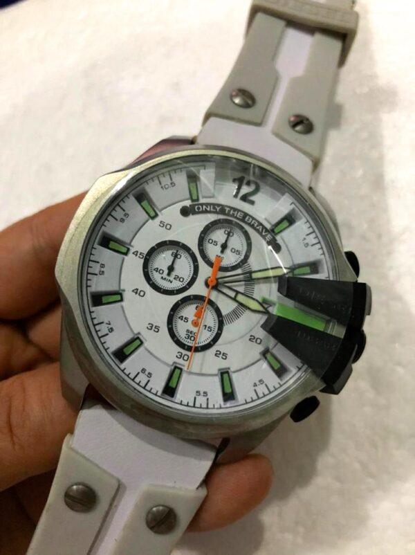 Réplica de relógio Diesel 10 Bar Borracha- Prata/Verde