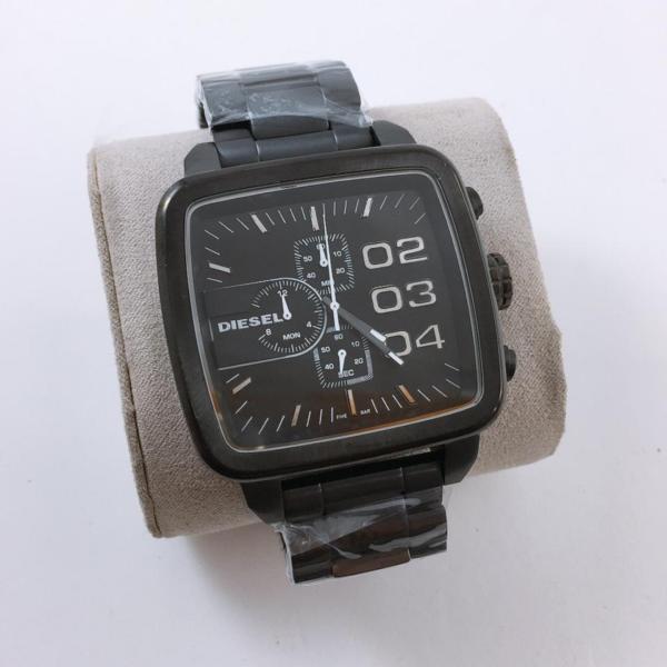 Réplica de relógio Diesel Quadrado Couro e Aço – Preto
