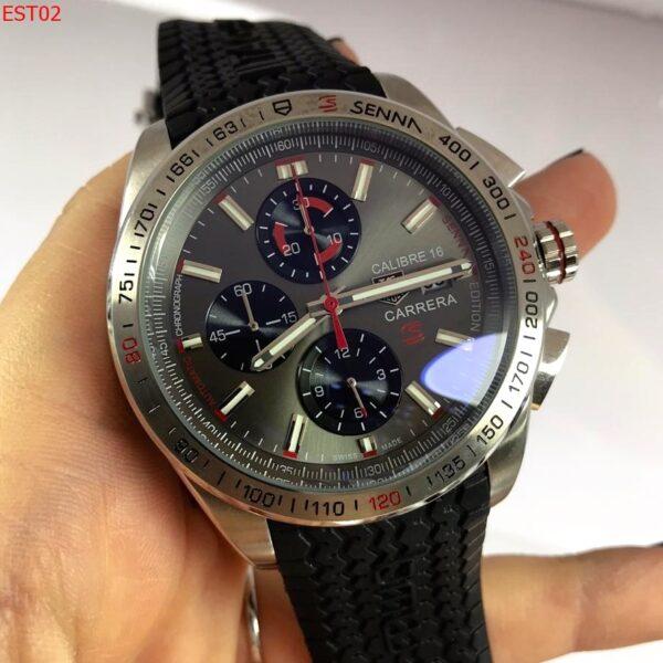 Réplica de relógio Tag Heuer Calibre 16 Borracha Ayrton Senna – Preto/Prata