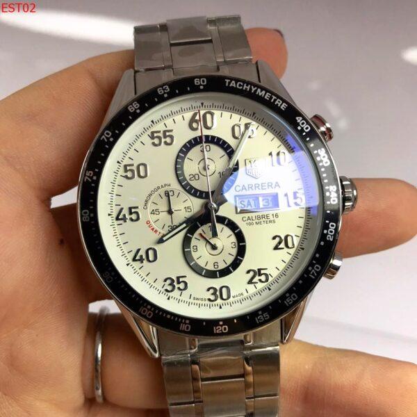 Réplica de relógio Tag Heuer Calibre 16 Cerâmica – Prata/Branco
