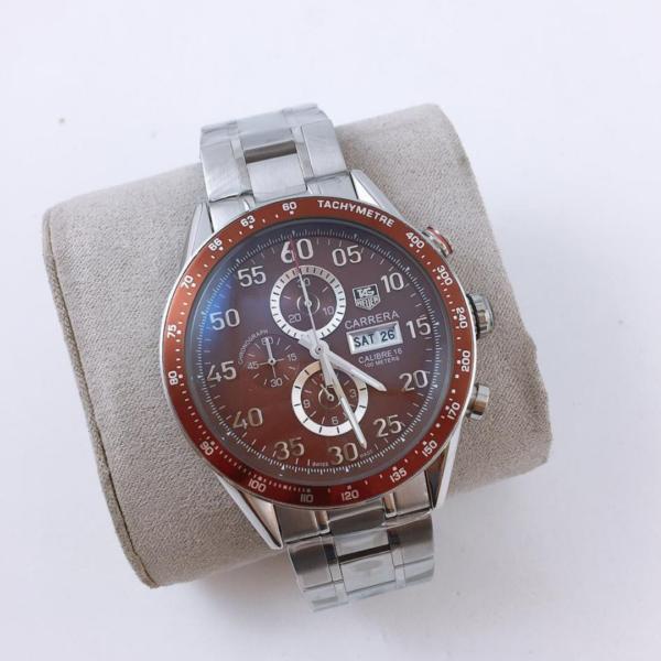 Réplica de relógio Tag Heuer Calibre 16 Cerâmica – Prata/Vermelho