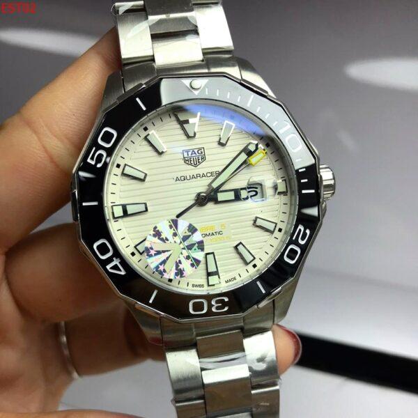 Réplica de relógio Tag Heuer Aquaracer Aço- Prata/Branco