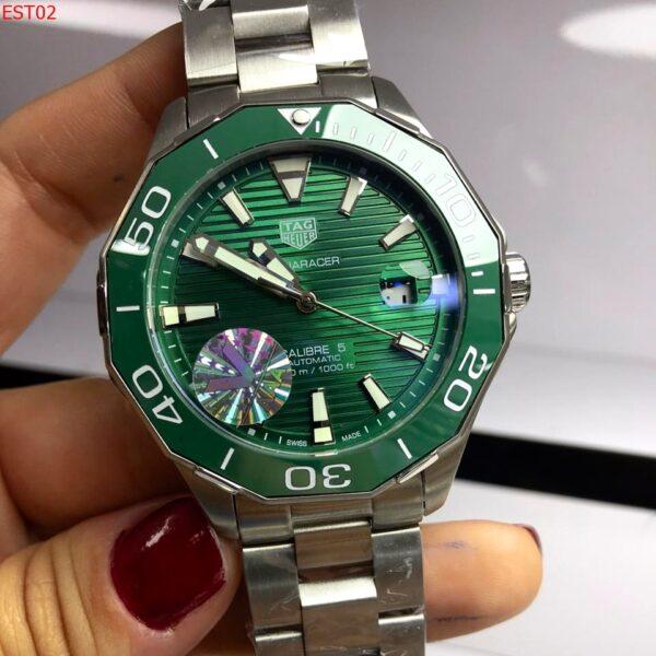 Réplica de relógio Tag Heuer Aquaracer Aço- Prata/Verde