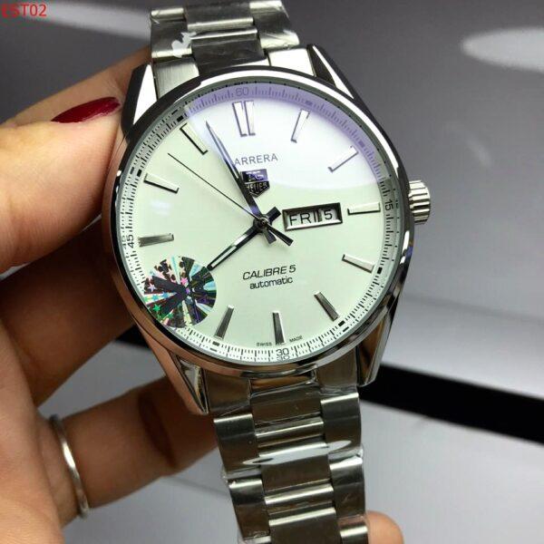 Réplica de relógio Tag Heuer Calibre 5 Aço – Branco/Prata